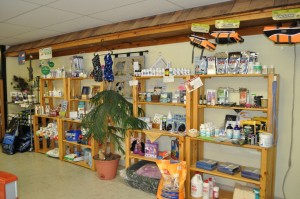 store shelves with pet supplies